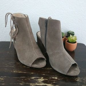 "Sole Society | ""Freja"" suede open toe booties 9"